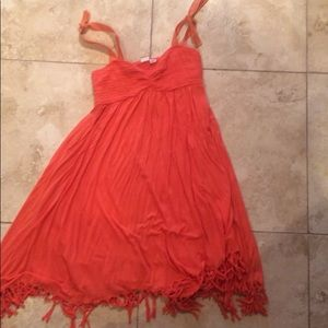 Orange ROXy fringe strapless smocked dress cute